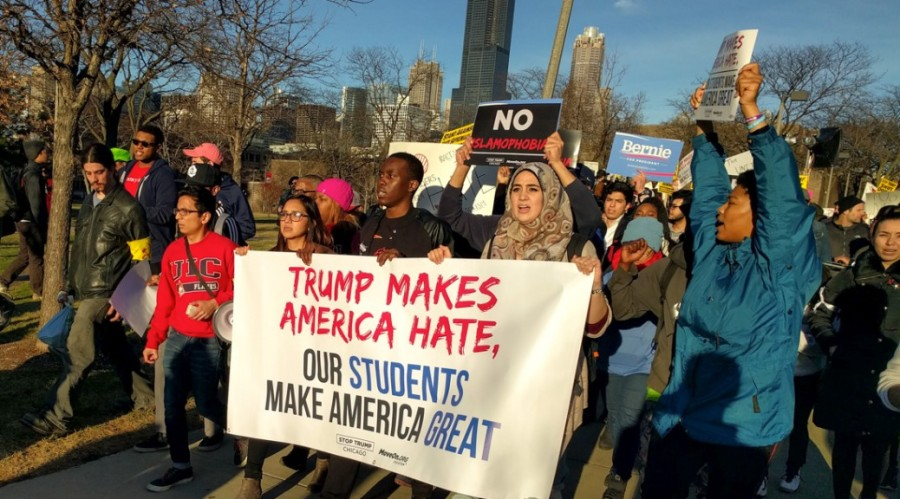 OUTSIDE TRUMP RALLY, PROTESTERS SHOUT DOWNHATE